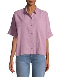 Eileen Fisher - Boxy Cotton Crepe Shirt - Lyst