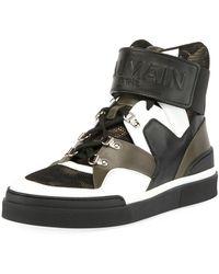 Balmain - Men's Camouflage-tone High-top Sneakers - Lyst