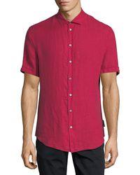 Emporio Armani - Short-sleeve Woven Linen Shirt - Lyst