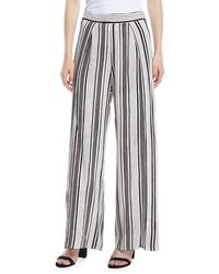 Cupcakes And Cashmere - Avah Striped Split Wide-leg Pants - Lyst