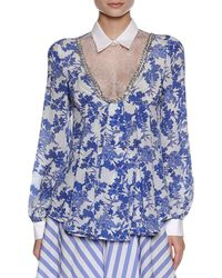 Francesco Scognamiglio - Floral-print Blouse With Lace Inset - Lyst