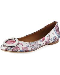 Tory Burch - Caterina Ring-buckle Floral Jacquard Ballet Flats - Lyst