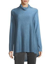 Eileen Fisher | Sleek Scrunch-neck Knit Top | Lyst