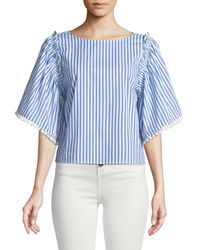 Ella Moss - Boxy Striped Flutter-sleeve Top - Lyst