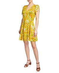 28f3325e Velvet By Graham & Spencer - Kirstan Floral Challis Short Sleeve Button-up  Dress -