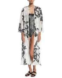Marie France Van Damme - Rose-embroidered Silk Open Caftan Coverup - Lyst