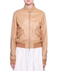 The Row - Erhly Zip-front Leather Bomber Jacket - Lyst