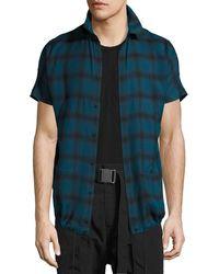 Helmut Lang - Check Short-sleeve Drawstring-hem Shirt - Lyst