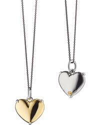Monica Rich Kosann - 18k Yellow Gold And Sterling Silver Heart Necklace - Lyst