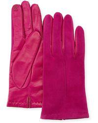 Portolano - Tech Suede & Napa Leather Short Gloves - Lyst