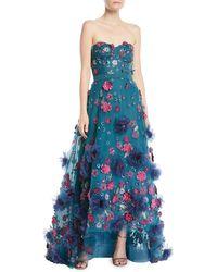 Marchesa notte - Strapless Ball Gown W/ 3d Petals - Lyst