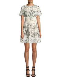 Alice + Olivia - Paola Embroidered Ruffle Mini Dress - Lyst