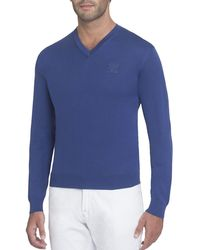 Stefano Ricci - Silk V-neck Sweater With Tonal Eagle - Lyst