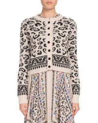 Altuzarra - Leopard-print Button-front Cropped Wool-blend Cardigan - Lyst