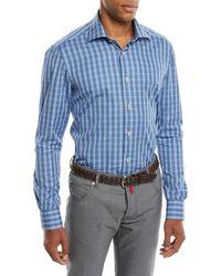 Kiton - Men's Mulri Check Long-sleeve Sport Shirt - Lyst