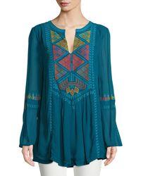 Tolani - Lauren Geometric Embroidered Peasant Tunic - Lyst