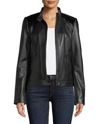 Neiman Marcus - Patent Leather-trim Leather Jacket - Lyst