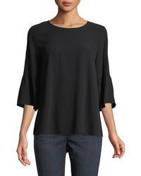 Eileen Fisher - Round-neck Flutter-sleeve Silk Top - Lyst