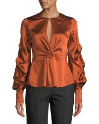 Jonathan Simkhai - Fluid Gathered-sleeve Satin Keyhole Top - Lyst