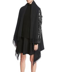Moncler | Combo Fringe Cape W/ Puffer Sleeves | Lyst