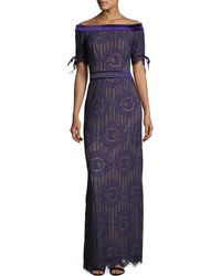 Tadashi Shoji - Off-the-shoulder Circular Lace Evening Gown - Lyst