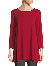 Eileen Fisher - Wide-sleeve Ballet-neck Viscose Jersey Tunic - Lyst