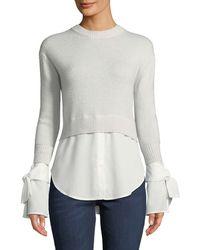 Neiman Marcus - Cashmere Georgette-trim Crewneck Sweater - Lyst