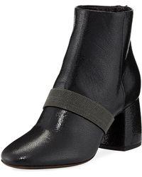 Brunello Cucinelli - Shiny Leather Block-heel Zip Booties With Monili - Lyst