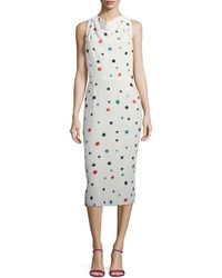Emporio Armani - Cosmic-dot Racerback Sheath Midi Dress - Lyst