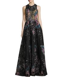 Elie Saab - Floral-embroidered Tulle Evening Gown - Lyst