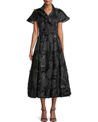 Lela Rose - Button-front Flared-sleeve A-line Floral-embroidered Shirtdress - Lyst