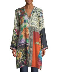 Johnny Was - Peadover Long Button-front Silk Cardigan - Lyst