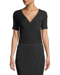 Jonathan Simkhai - V-neck Asymmetric Cross-front Rib-knit Top - Lyst