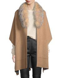 6a54a49ac6e4 Sofia Cashmere - Double-face Cashmere Cape W  Fur Collar - Lyst
