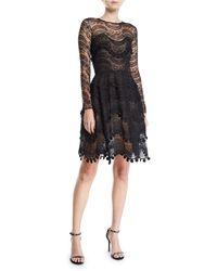 Oscar de la Renta - Wavy Lace Scalloped Illusion Dress - Lyst