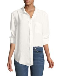 cbb5838bd9174e Lyst - 7 For All Mankind Button-down Cold-shoulder Top in White