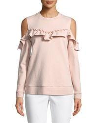 Kate Spade - Cold-shoulder Ruffle Pullover Sweatshirt - Lyst