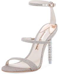 940fcca76eda Lyst - Dolce   Gabbana Metallic Glitter Sandals With Letter Heels