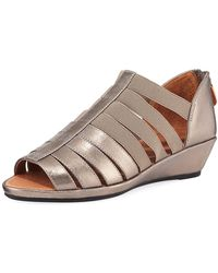 Gentle Souls - Lana Caged Metallic Leather Sandals - Lyst