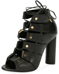 Tom Ford - Lace-up Leather Open-toe 105mm Bootie - Lyst
