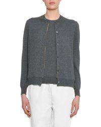 Marni - Button-front Wool-silk Cardigan W/ Silk-print Lining - Lyst