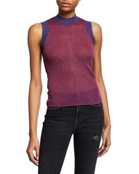 c7151983cdcff Lyst - Rag   Bone Izabella Lace-trim Silk Tank in Metallic