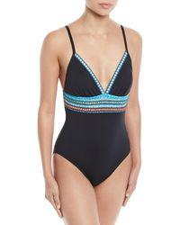 La Blanca - Stitched Triangle One-piece Swimsuit - Lyst