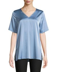 Eileen Fisher - V-neck Silk Charmeuse Top - Lyst