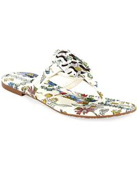 70bf15dc1aece2 Lyst - Tory Burch Miller Printed Flat Thong Sandal in Blue