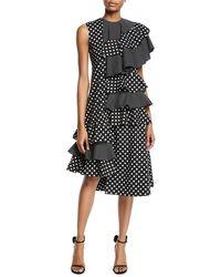 Paskal - One-sleeve Polka-dot Asymmetric Ruffle Midi Dress - Lyst