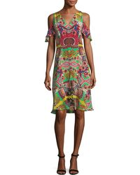Etro - Tropical Paisley Cold-shoulder Dress - Lyst
