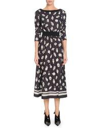 Altuzarra - Paola Boat-neck Pottery-print A-line Midi Dress W/ Ribbed Trim - Lyst