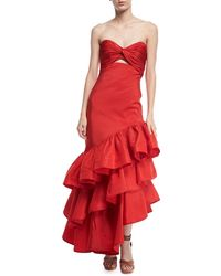 Johanna Ortiz - Spicy Margarita Strapless Bustier Ruffle Tiered Silk Faille Evening Dress - Lyst