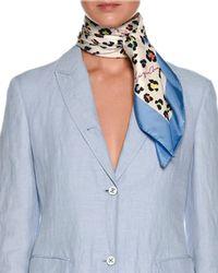 Giorgio Armani | Multicolor Leopard-print Silk Twill Square Scarf | Lyst